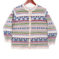 Marisa Christina Linen Wool Blend Christmas Cardigan Sweater Size Large Petite
