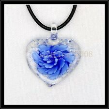 Fashion Noctilucent heart lampwork Murano art glass beaded pendant necklace BB24