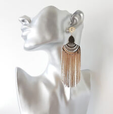 Stunning & sexy long gold tone chain tassel drop earrings, Big & glam!    #815