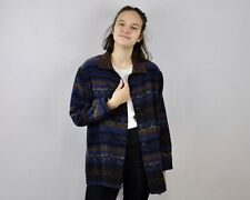 French Worker Wool L Women's UK 16 Over Shirt VTG Jacket Chore Coat Aztec US 12