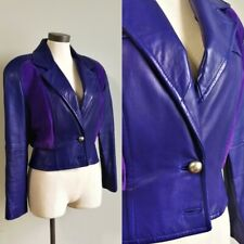 Vintage 80s womens Us 6-8 purple leather suede bomber biker rocker crop jacket