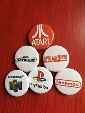 "1.25"" Video Games pin back button set of 6 Atari Nintendo 64 Playstation Sega"