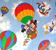 VINTAGE Disney Hot Air Balloon Mickey Mouse Twin Flat Sheet Minnie  Goofy Sears