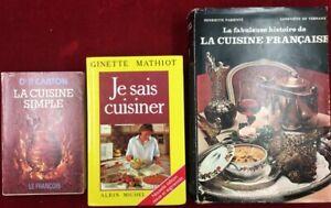 Ginette Mathiot, P. Carton, Parienté - lot de 3 ouvrages de cuisine Française