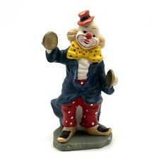 """Vintage Clown Figurine 5"""" Tall Blue Jacket Red Hat Red Pants Yellow Bow Tie"""