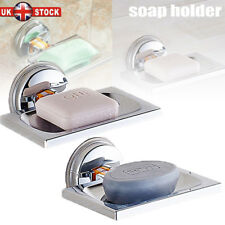 New ABS Strong Suction Soap Dish Holder Tray Bathroom Shower Chrome Accessories