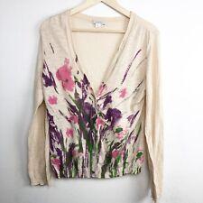 Garnet Hill Cardigan Sweater M Medium Watercolor Floral Cotton Ladies B6
