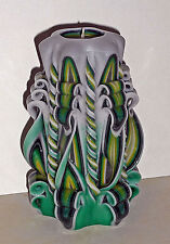 Yellow Green Unique handmade gift candle Hand Carved candles 5 inch/12cm