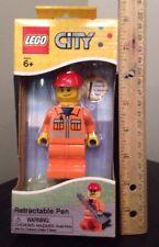 New Lego City RETRACTABLE PEN Construction Worker Retired Ballpoint