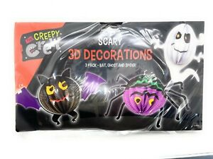 Pack Of 3 Halloween 3D Paper Decoration Hanging Decor ( Bat , Ghost & Spider )