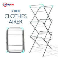 3 Tier Clothes Airer Dryer Metal Laundry Horse Drying Rack Indoor Outdoor Patio