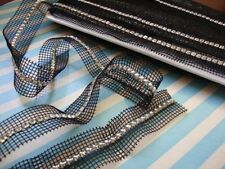 Crystal Glass Rhinestone trim on black double double side netting by the yard