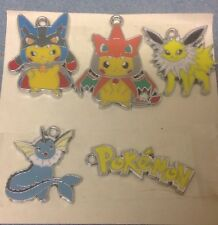 """""Set of 5 x POKEMON PIKACHU Silver Tone Metal Enamel Charms Pendants (N1)"""""