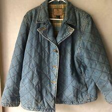 Lauren Ralph Lauren Jean Co Women's Denim Blue Plaid Long Sleeve Jacket Size L