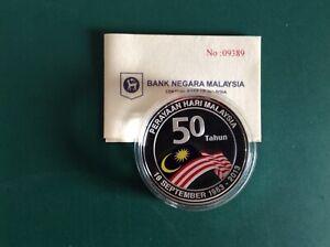 Malaysia 2013 50th Malaysia Day Single Silver Proof Coin - COA09389