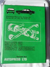 HOLDEN V8 WORKSHOP MANUAL 1968 - 1972 BELMONT MONARO PREMIER VICTOR HT HK HG HQ