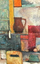 EXPRESSIONISM STILL LIFE VINTAGE GOUACHE PAINTING