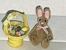 Artisan Miniature Dollhouse Vintage Jointed Bunny with Easter Basket