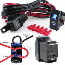 12V On/Off 5 pins Blue LED Light Bar Rocker Switch + Wiring Harness Relay Fuse