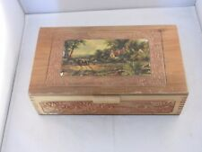 "VINTAGE WOODEN TRINKET BOX WITH MIRROR INSIDE 11"" X 6"" X 3"" COTTAGE SCENE"