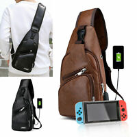 LEATHER Nintendo Switch Backpack Travel Bag Protective Carrying USB Charging Bag