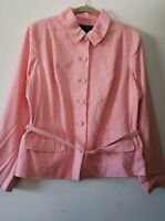 Dialogue QVC Style Pink Belted Jacket Coat Blazer Women's NWT Size 16