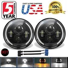 7 Inch Round LED Headlights Black for Jeep Wrangler JK TJ CJ LJ Chevrolet Dodge