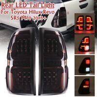 2x Rear LED Tail Brake Light Smoke Black ABS For Toyota Hilux Revo M70 SR5