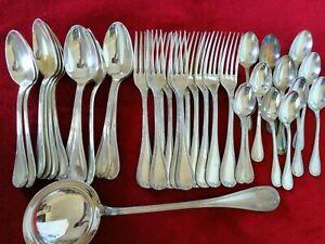 RUBANS SET Christofle Silver-plate Table Diner Forks Spoons Ladle FRANCE