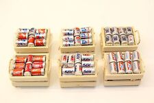 NEW Dolls House Miniature Set of 6 x Wooden Baskets with Various Pop Drinks Cans