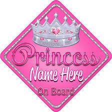 Personalised 3 Princesses Star Shaped Baby On Board Car Sign ~ New Black