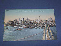 VINTAGE MANHATTAN SKY LINE BROOKLYN BRIDGE  NEW YORK   POSTCARD