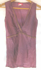 Great Sz M 10 12 Sleeveless Purple Silk Top Toi Et Moi Designer