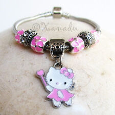 Pink Heart Hello Kitty European Charm Bracelet - Kid Child Small Sizes Available