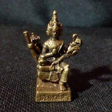 Thai Amulet Lord Brahma Hindu God Brass Statue Sacred Lucky NBH