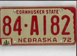 "NEBRASKA 1973 license plate ""84-A182"" *WHEELER (very small county, 182nd plate)*"