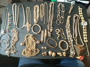 Gold Plated Jewelry Lot, Scrap Or Keep, All Good PCs, some signed pcs