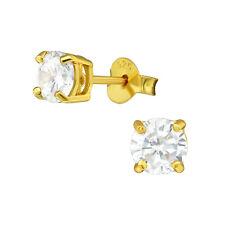 Runder 925 Echt Silber Ohr ringe Ohrstecker Vergoldet Stud Earrings real Silver