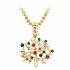 Elegant Women Golden Crystal Rhinestone Christmas Tree Pendant Necklace Jewelry