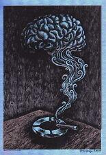 """MINT & SIGNED EMEK """"Smokin' Brain"""" (Ween 2005 Boulder) FOIL Handbill"""