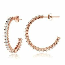 Hoop Rose Gold Flashed Simulated Fine Earrings