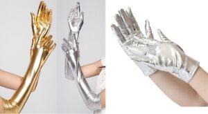 Gold or Silver Satin Gloves Metallic Look Short or Long Fancy Dress Sci Fi