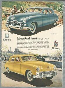 1947 FRAZER & KAISER advertisement, Kaiser-Frazer sedans, Spain & France