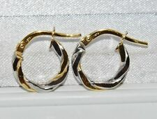 9CT YELLOW & WHITE GOLD CHILD'S FANCY CREOLE HOOP EARRINGS