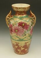 """NIPPON ANTIQUE HEAVY GOLD MORIAGE RED HANDLED LARGE VASE  HAND PAINTED FLORAL12"""""""