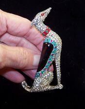 TRIFARI 'Alfred Philippe' Ultra Rare Enamel & Pave Sitting 'Greyhound'' Clip/Pin