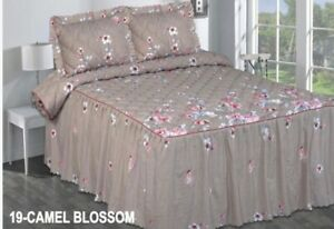 FANTASIA CAMEL BLOSSOMFLOWERS BEDSPREAD SET WITH RUFLES 3 PCS KING SIZE