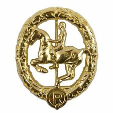 WW2 German Horsemans Badge - Gold Repro Horse Rider Cavalry Military Army Award