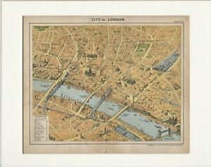 1912 Birds-Eye View Map of The City of London by George Philip