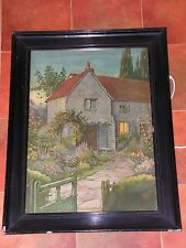 MEDIUM, ANTIQUE PRINT, (AQUATINT?) OF A COTTAGE AT DUSK, SIGNED W. PATTELL(?).